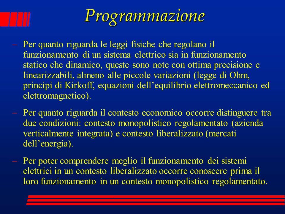 Programmazione –Per quanto riguarda le leggi fisiche che regolano il funzionamento di un sistema elettrico sia in funzionamento statico che dinamico,