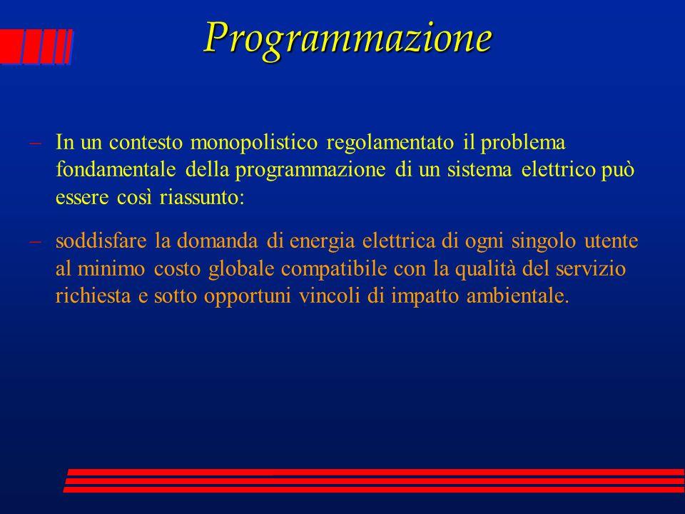 Programmazione –In un contesto monopolistico regolamentato il problema fondamentale della programmazione di un sistema elettrico può essere così riass