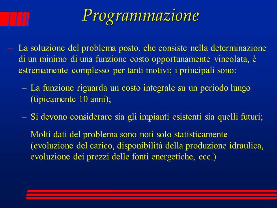 Programmazione –La soluzione del problema posto, che consiste nella determinazione di un minimo di una funzione costo opportunamente vincolata, è estr
