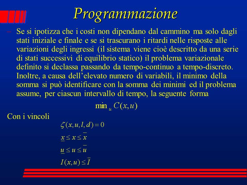 Programmazione –Se si ipotizza che i costi non dipendano dal cammino ma solo dagli stati iniziale e finale e se si trascurano i ritardi nelle risposte