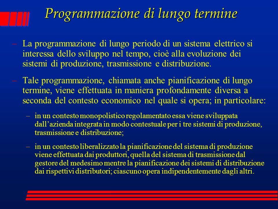 Programmazione di lungo termine –La programmazione di lungo periodo di un sistema elettrico si interessa dello sviluppo nel tempo, cioè alla evoluzion