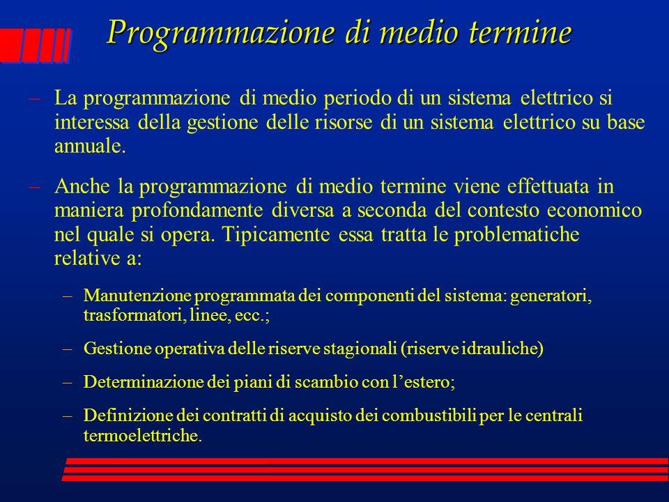 Programmazione di medio termine –La programmazione di medio periodo di un sistema elettrico si interessa della gestione delle risorse di un sistema el