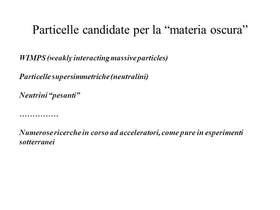 Particelle candidate per la materia oscura WIMPS (weakly interacting massive particles) Particelle supersimmetriche (neutralini) Neutrini pesanti …………
