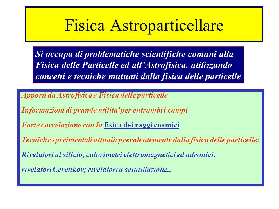 Fisica Astroparticellare Si occupa di problematiche scientifiche comuni alla Fisica delle Particelle ed allAstrofisica, utilizzando concetti e tecnich