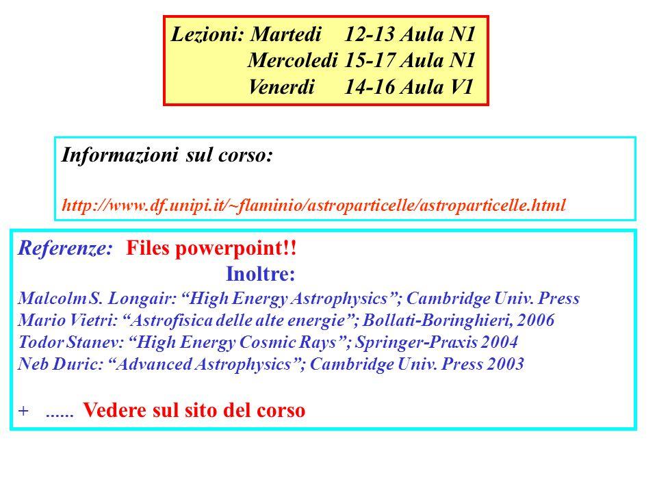 Lezioni: Martedi 12-13 Aula N1 Mercoledi 15-17 Aula N1 Venerdi 14-16 Aula V1 Informazioni sul corso: http://www.df.unipi.it/~flaminio/astroparticelle/