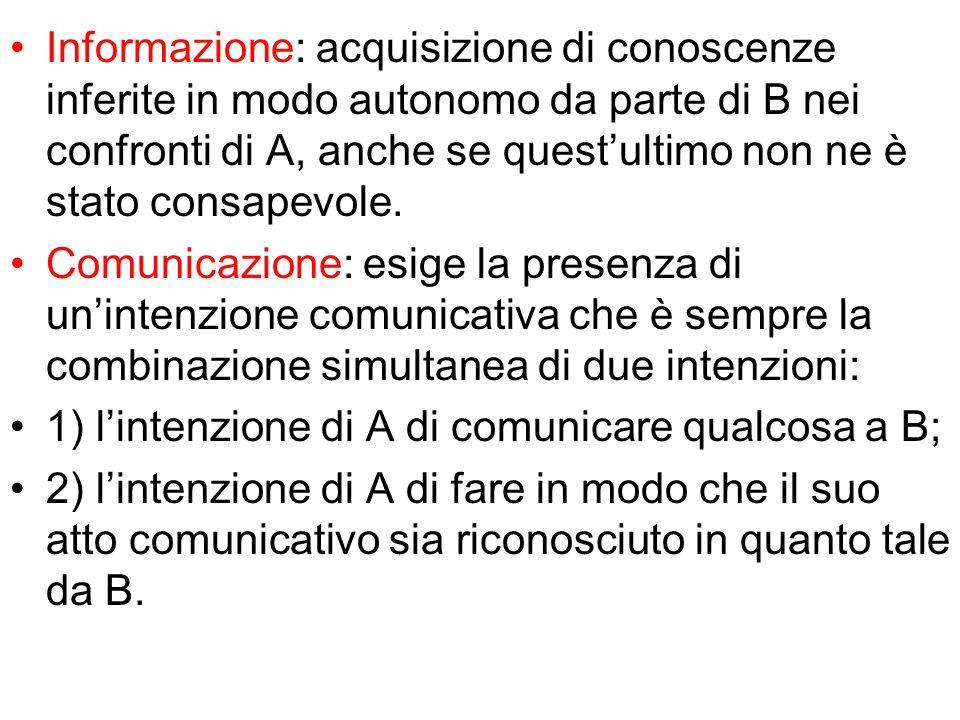 Informazione: acquisizione di conoscenze inferite in modo autonomo da parte di B nei confronti di A, anche se questultimo non ne è stato consapevole.