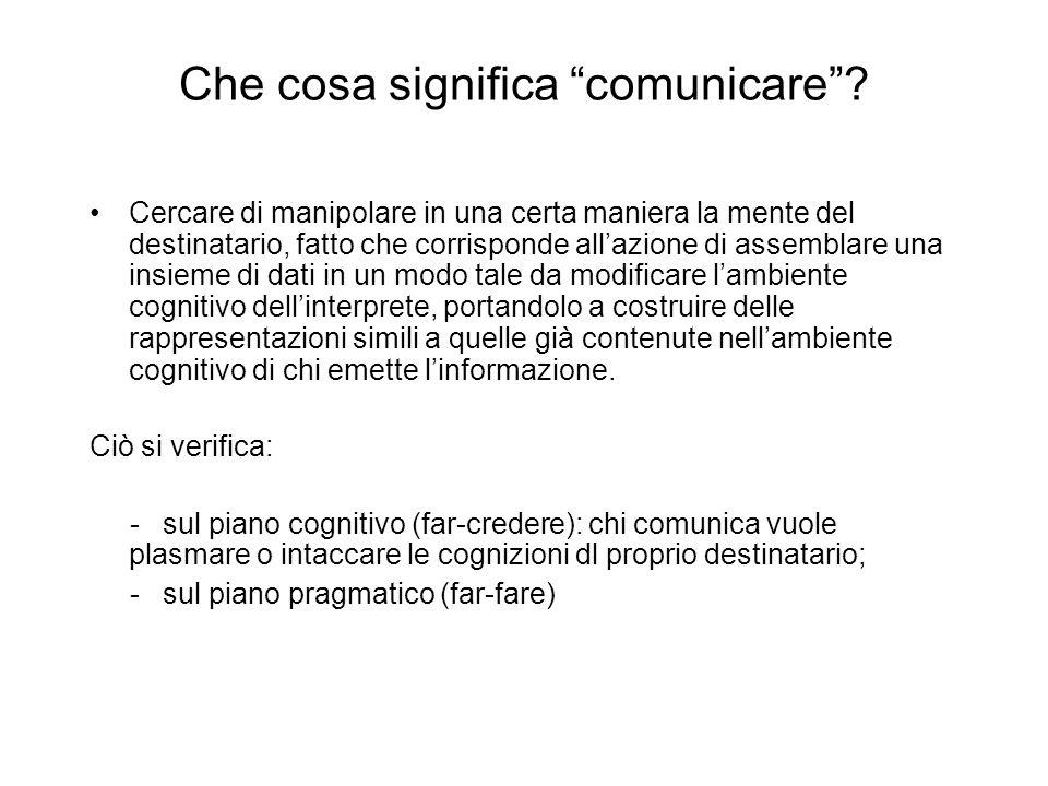 Che cosa significa comunicare? Cercare di manipolare in una certa maniera la mente del destinatario, fatto che corrisponde allazione di assemblare una