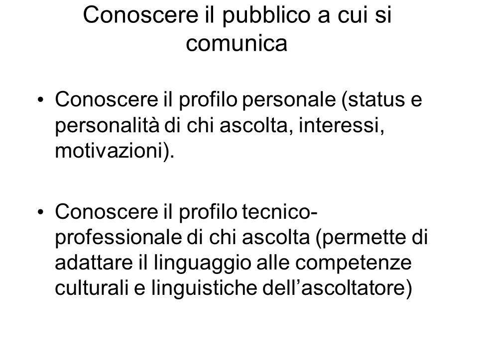 Conoscere il pubblico a cui si comunica Conoscere il profilo personale (status e personalità di chi ascolta, interessi, motivazioni). Conoscere il pro