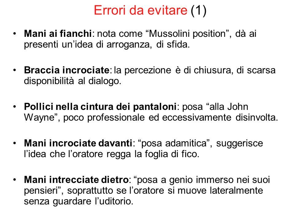 Errori da evitare (1) Mani ai fianchi: nota come Mussolini position, dà ai presenti unidea di arroganza, di sfida. Braccia incrociate: la percezione è
