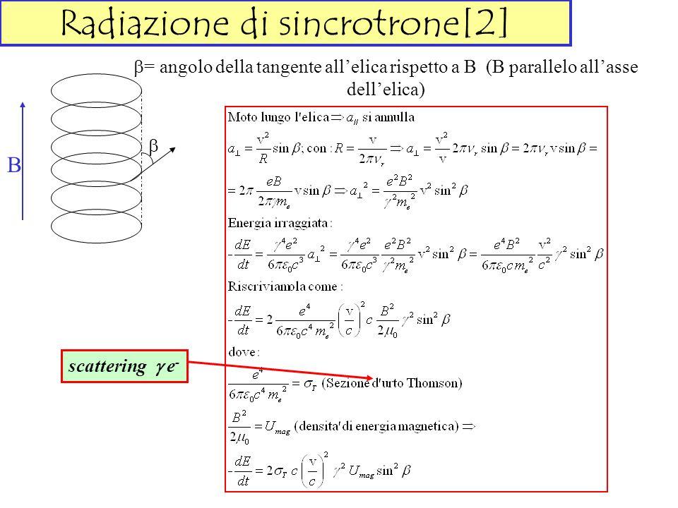 Radiazione di sincrotrone[2] = angolo della tangente allelica rispetto a B (B parallelo allasse dellelica) B scattering e -