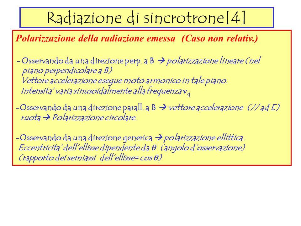 Radiazione di sincrotrone[4] Polarizzazione della radiazione emessa (Caso non relativ.) - Osservando da una direzione perp. a B polarizzazione lineare