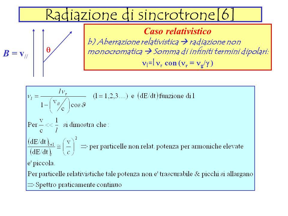 Radiazione di sincrotrone[6] B = v // Caso relativistico b) Aberrazione relativistica radiazione non monocromatica Somma di infiniti termini dipolari: