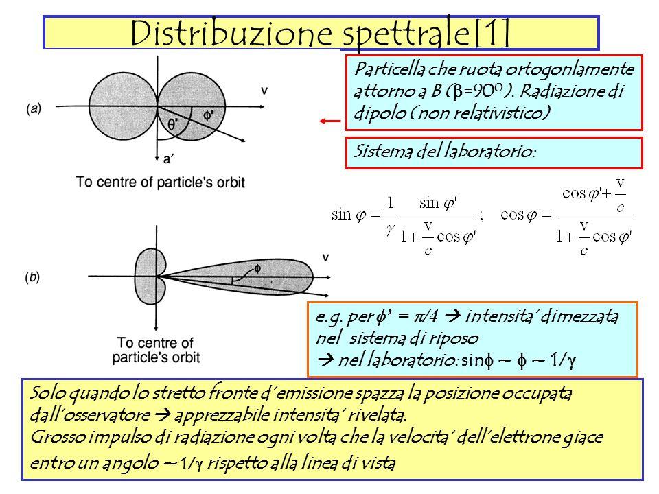 Distribuzione spettrale[1] Particella che ruota ortogonlamente attorno a B ( =90 0 ). Radiazione di dipolo (non relativistico) Sistema del laboratorio