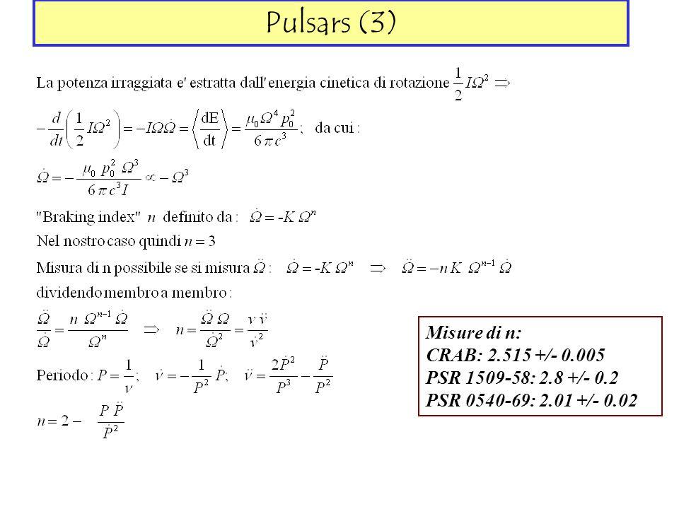 Pulsars (3) Misure di n: CRAB: 2.515 +/- 0.005 PSR 1509-58: 2.8 +/- 0.2 PSR 0540-69: 2.01 +/- 0.02