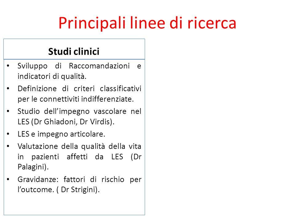 Principali linee di ricerca Studi clinici Sviluppo di Raccomandazioni e indicatori di qualità. Definizione di criteri classificativi per le connettivi