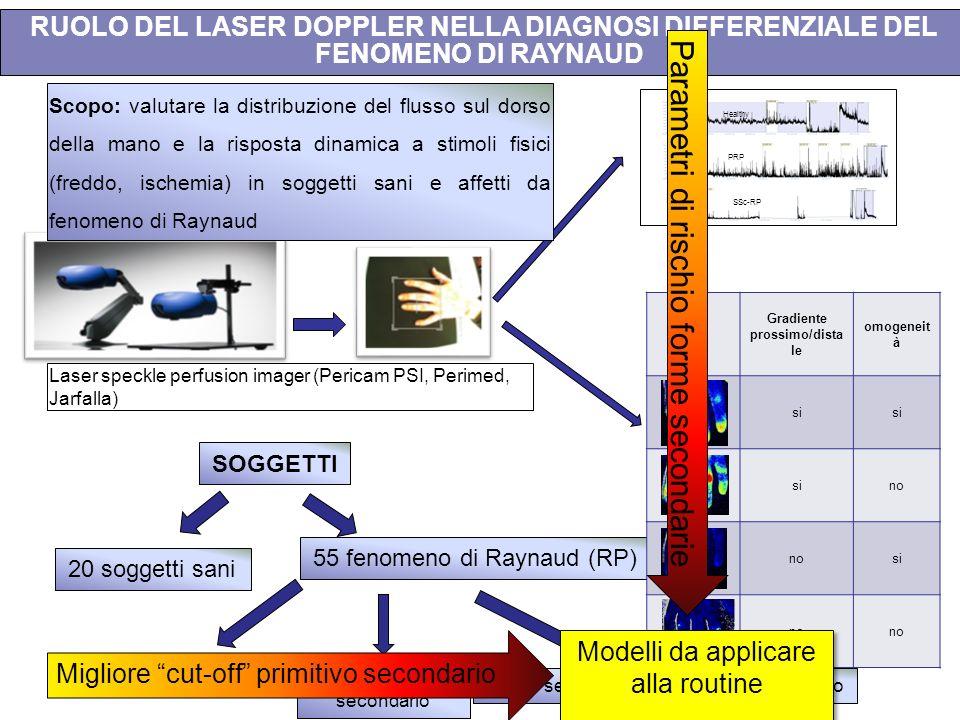 Healthy PRP SSc-RP Laser speckle perfusion imager (Pericam PSI, Perimed, Jarfalla) 20 soggetti sani 15 RP primario 18 RP sospetto secondario 21 RP sec