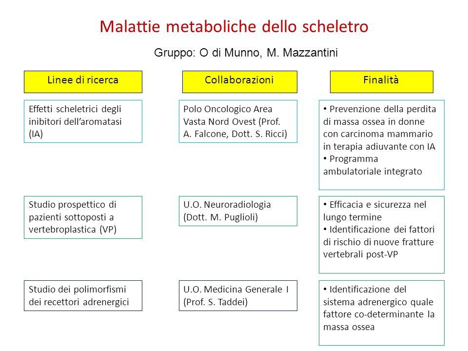 Malattie metaboliche dello scheletro FinalitàLinee di ricercaCollaborazioni Effetti scheletrici degli inibitori dellaromatasi (IA) Polo Oncologico Are