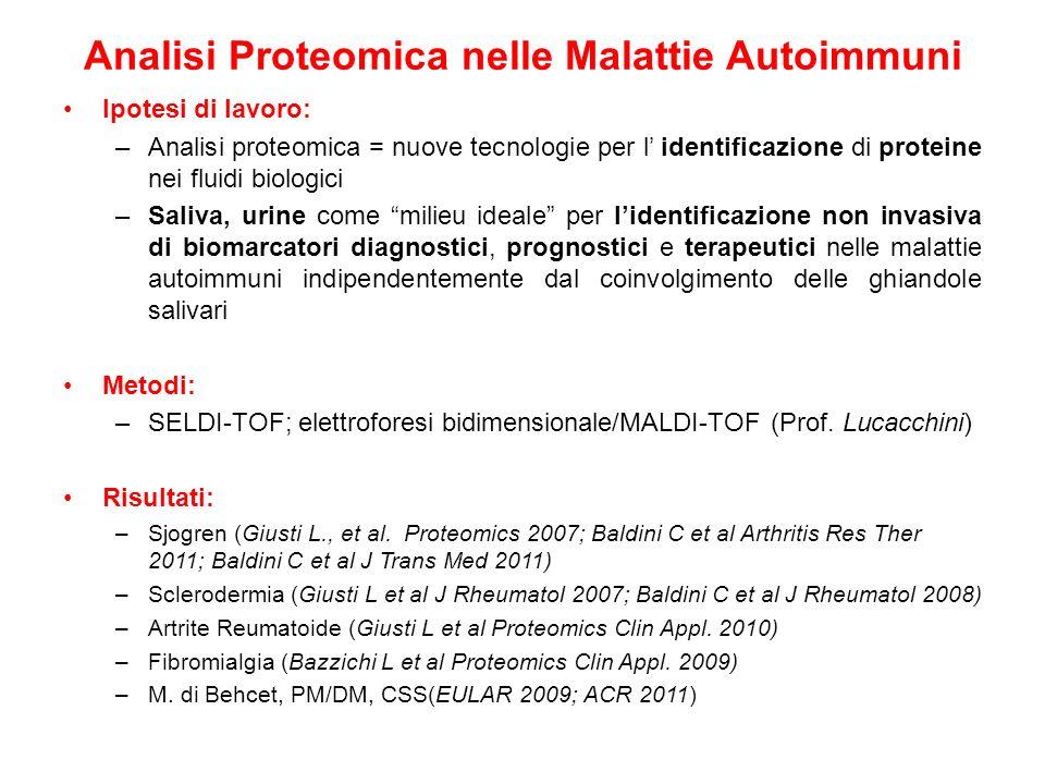 Analisi Proteomica nelle Malattie Autoimmuni Ipotesi di lavoro: –Analisi proteomica = nuove tecnologie per l identificazione di proteine nei fluidi bi