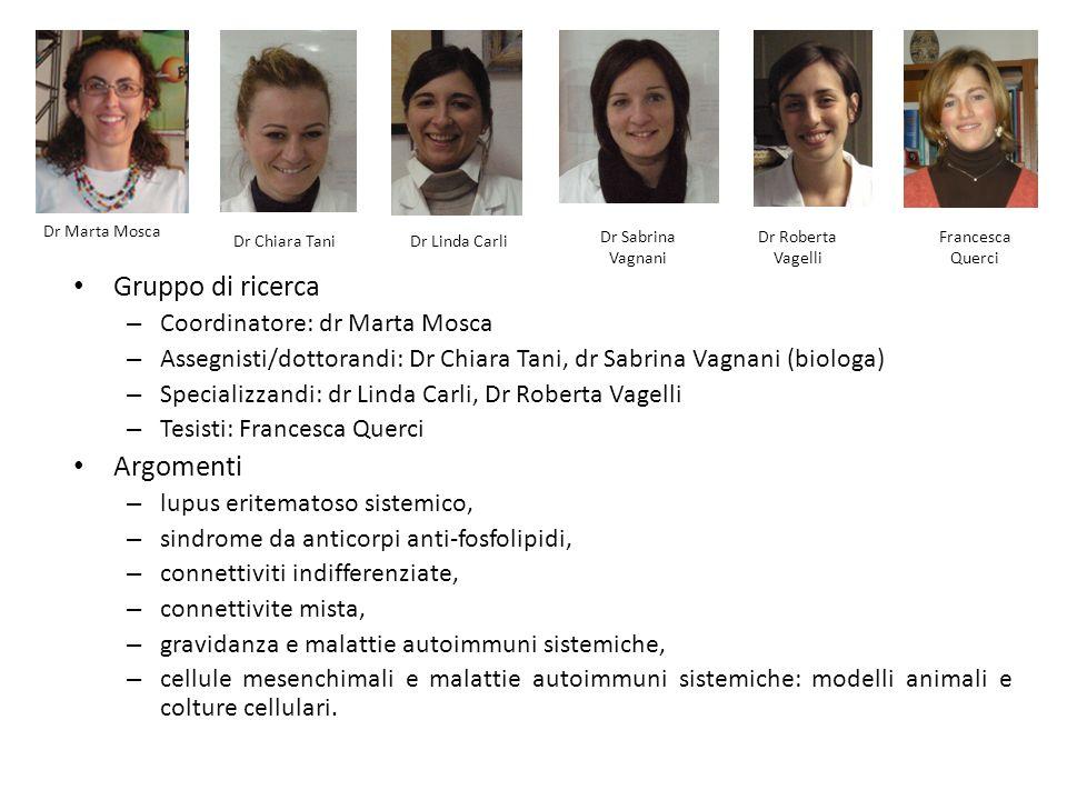 Gruppo di ricerca – Coordinatore: dr Marta Mosca – Assegnisti/dottorandi: Dr Chiara Tani, dr Sabrina Vagnani (biologa) – Specializzandi: dr Linda Carl