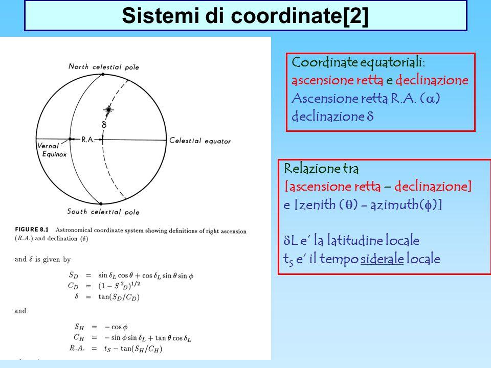 Sistemi di coordinate[2] Coordinate equatoriali: ascensione retta e declinazione Ascensione retta R.A.