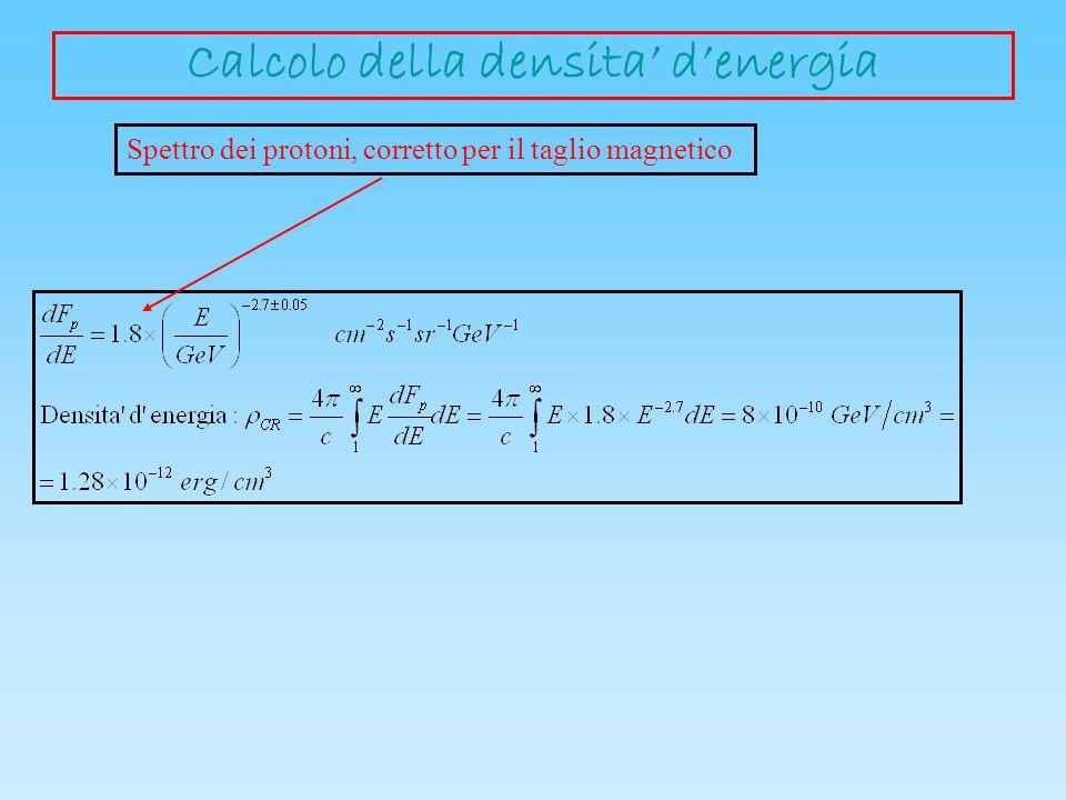 Spettro dei protoni, corretto per il taglio magnetico Calcolo della densita denergia