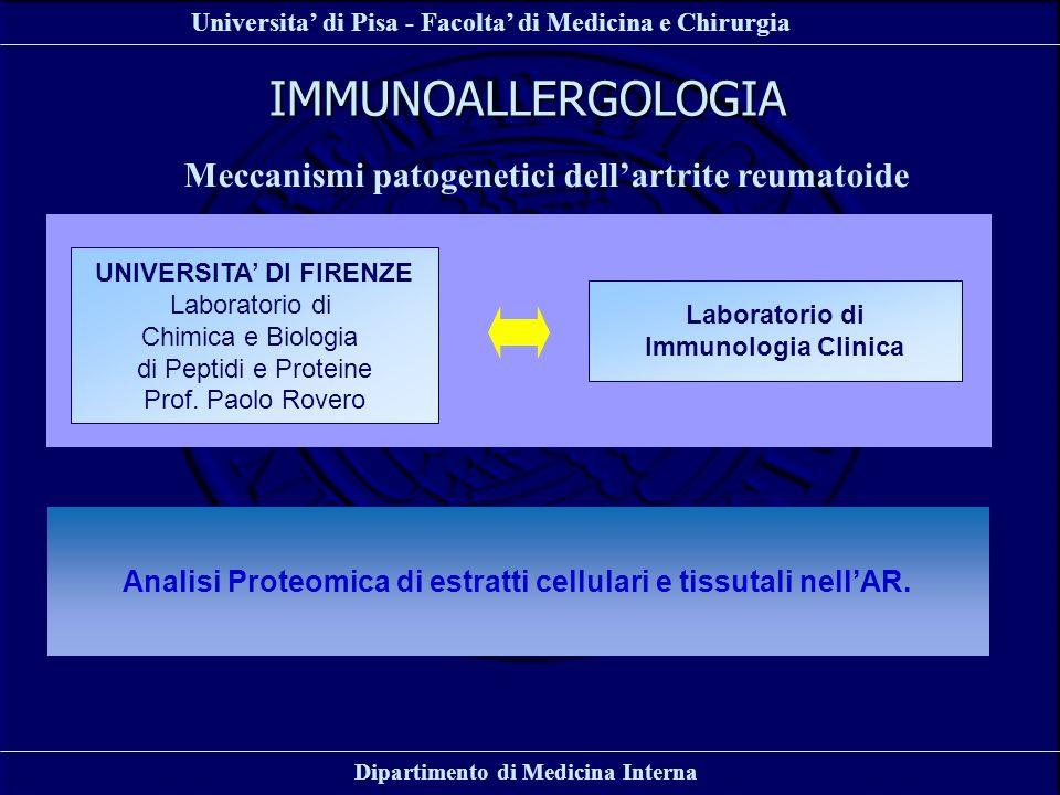 Universita di Pisa - Facolta di Medicina e Chirurgia Dipartimento di Medicina Interna IMMUNOALLERGOLOGIA Meccanismi patogenetici dellartrite reumatoid