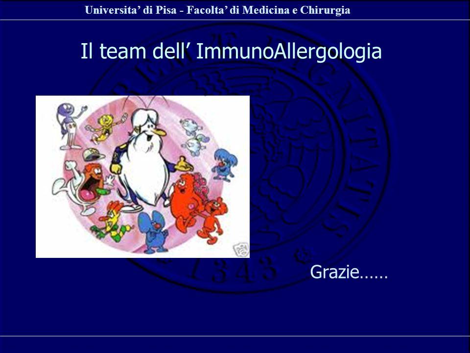 Universita di Pisa - Facolta di Medicina e Chirurgia Il team dell ImmunoAllergologia Grazie……