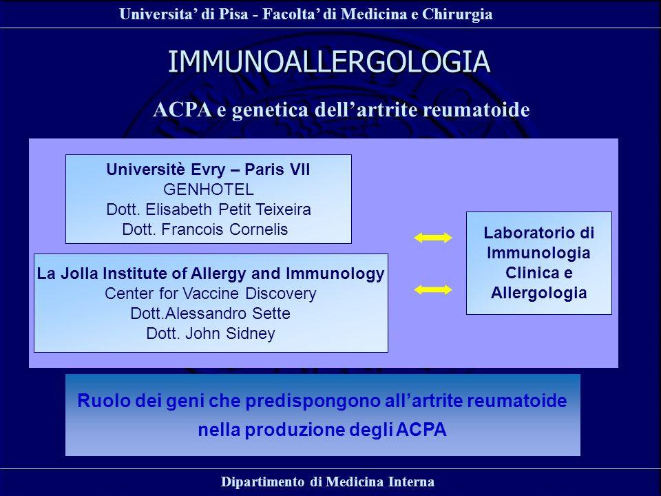Universita di Pisa - Facolta di Medicina e Chirurgia Dipartimento di Medicina Interna IMMUNOALLERGOLOGIA ACPA e genetica dellartrite reumatoide Labora