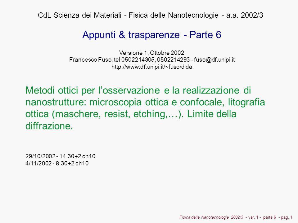 Fisica delle Nanotecnologie 2002/3 - ver. 1 - parte 6 - pag.