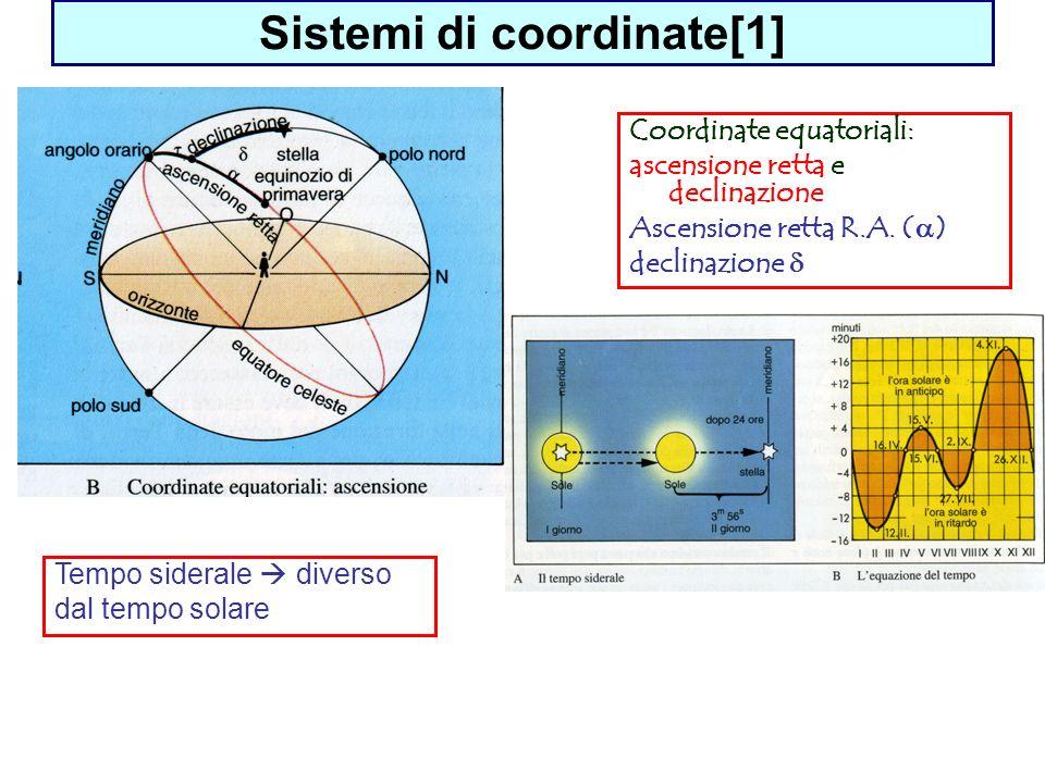 Sistemi di coordinate[1] Coordinate equatoriali: ascensione retta e declinazione Ascensione retta R.A. ( ) declinazione Tempo siderale diverso dal tem