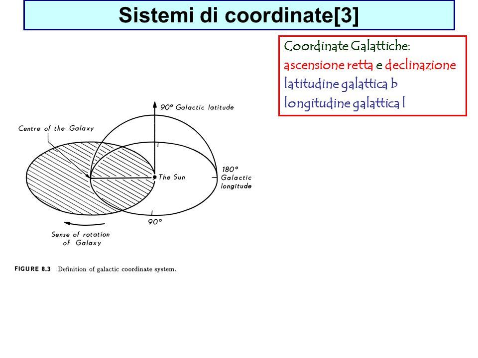 Sistemi di coordinate[3] Coordinate Galattiche: ascensione retta e declinazione latitudine galattica b longitudine galattica l
