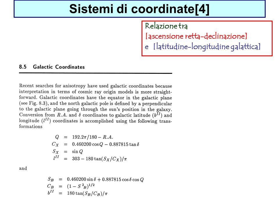 Sistemi di coordinate[4] Relazione tra [ascensione retta-declinazione] e [latitudine-longitudine galattica]