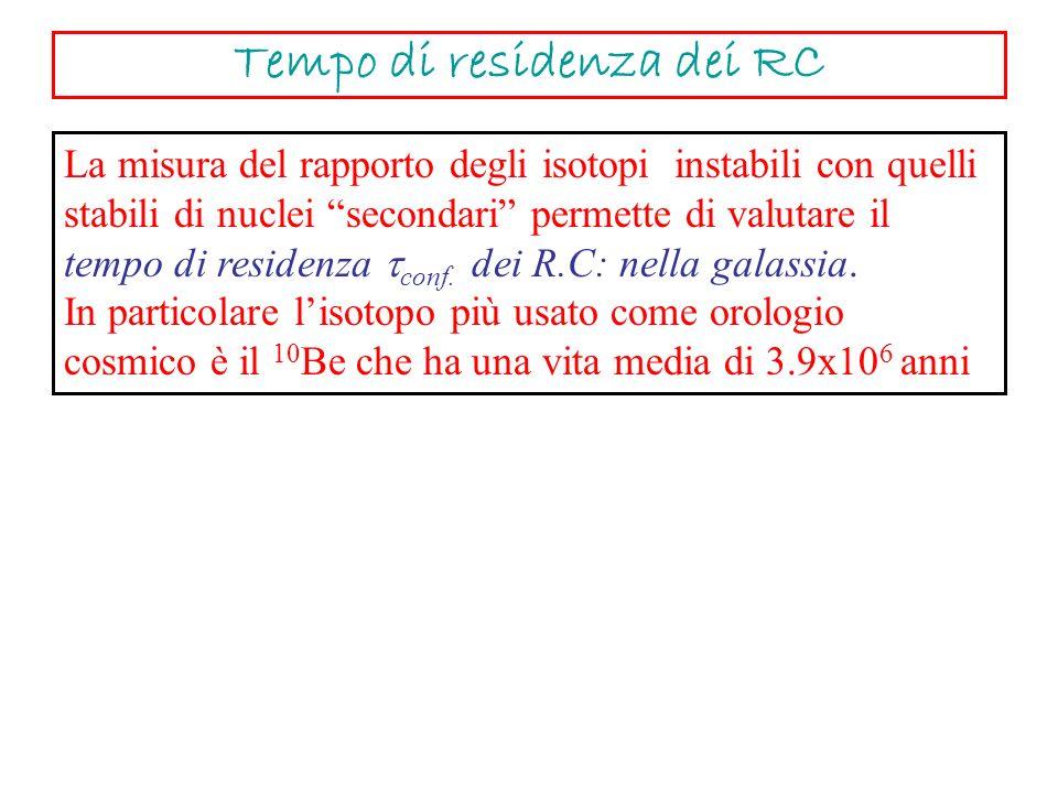 La misura del rapporto degli isotopi instabili con quelli stabili di nuclei secondari permette di valutare il tempo di residenza conf. dei R.C: nella