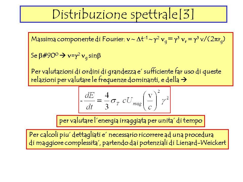 Distribuzione spettrale[3] Massima componente di Fourier: ~ t -1 ~ 2 g = 3 r = 3 v/(2 r g ) Se #90 0 = 2 g sin Per valutazioni di ordini di grandezza