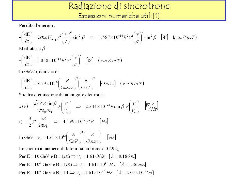Radiazione di sincrotrone Espessioni numeriche utili[1]