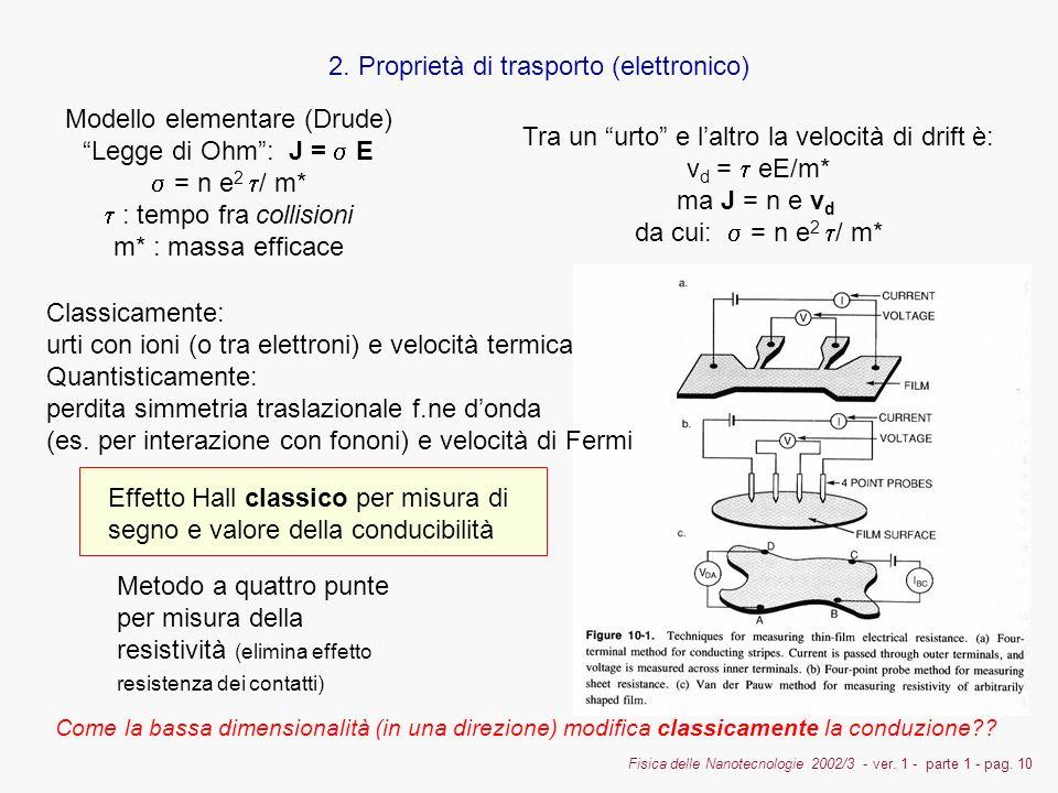 Fisica delle Nanotecnologie 2002/3 - ver. 1 - parte 1 - pag. 10 2. Proprietà di trasporto (elettronico) Modello elementare (Drude) Legge di Ohm: J = E