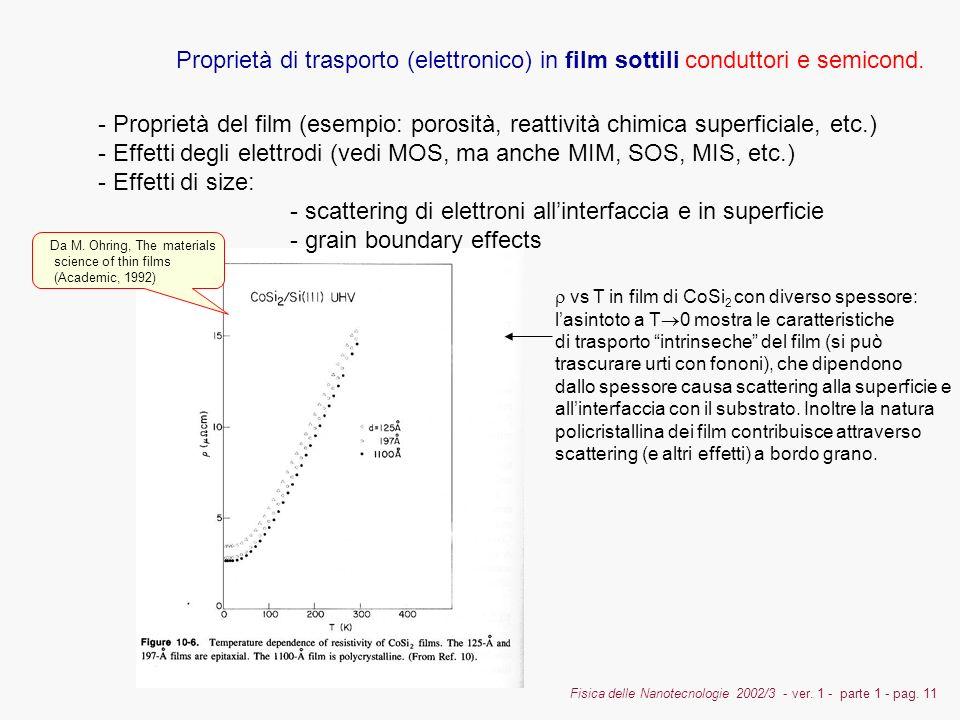 Fisica delle Nanotecnologie 2002/3 - ver. 1 - parte 1 - pag. 11 Proprietà di trasporto (elettronico) in film sottili conduttori e semicond. - Propriet