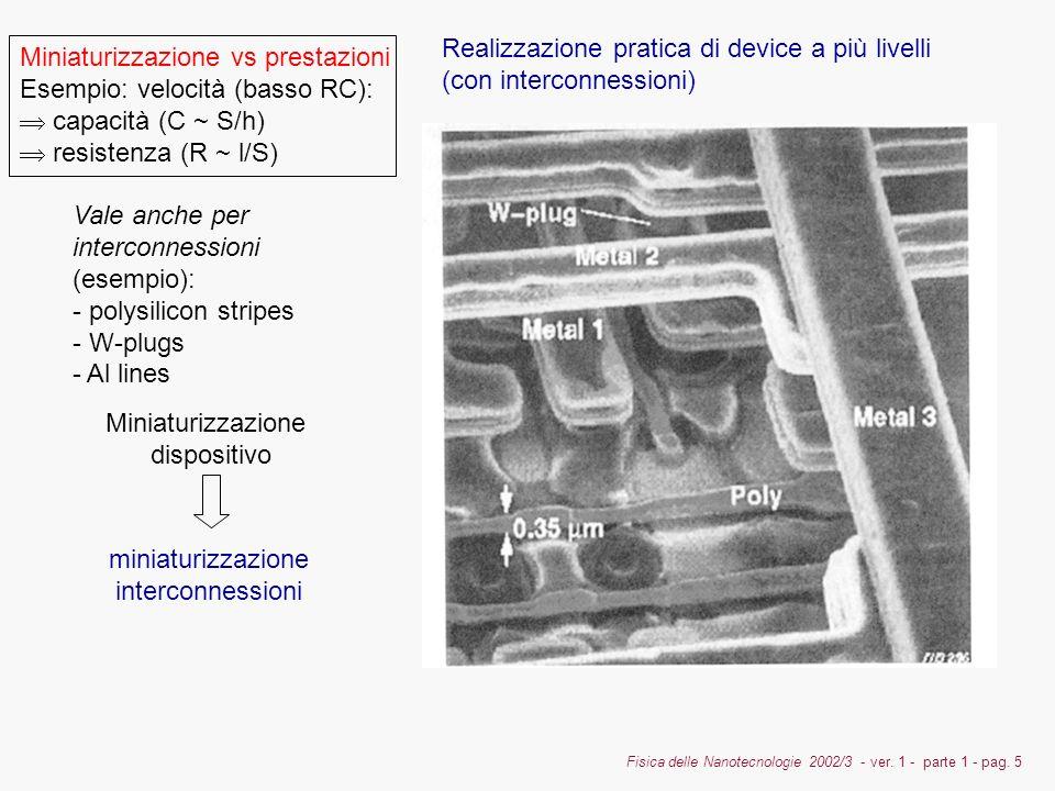 Fisica delle Nanotecnologie 2002/3 - ver. 1 - parte 1 - pag. 5 Vale anche per interconnessioni (esempio): - polysilicon stripes - W-plugs - Al lines M