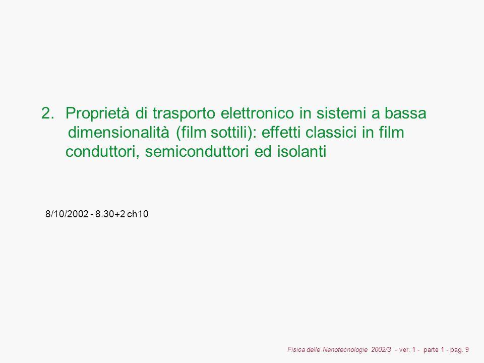 Fisica delle Nanotecnologie 2002/3 - ver. 1 - parte 1 - pag. 9 2.Proprietà di trasporto elettronico in sistemi a bassa dimensionalità (film sottili):