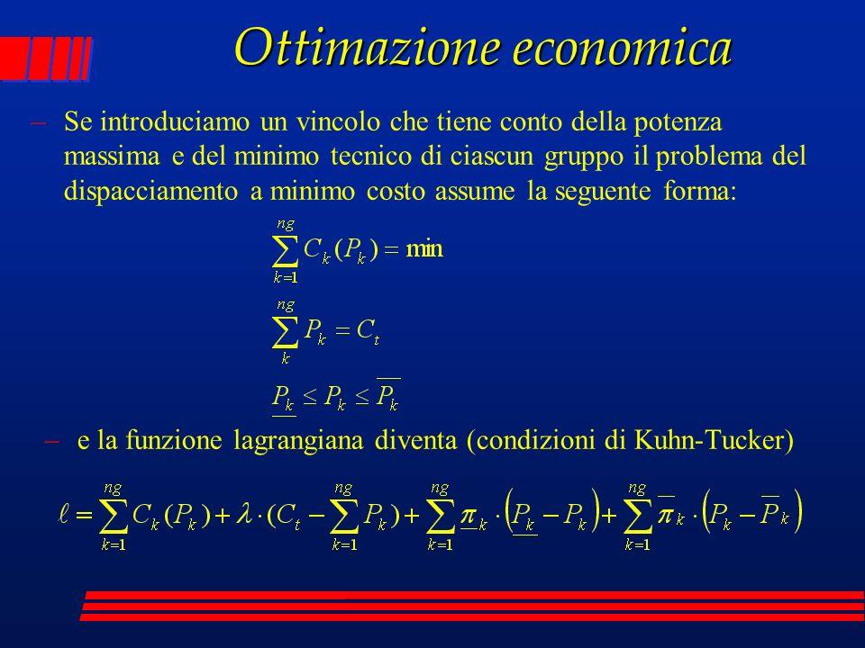 Ottimazione economica –Se introduciamo un vincolo che tiene conto della potenza massima e del minimo tecnico di ciascun gruppo il problema del dispacc