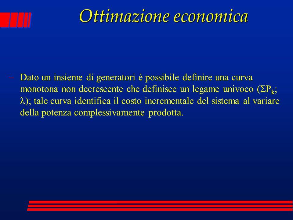 Ottimazione economica –Dato un insieme di generatori è possibile definire una curva monotona non decrescente che definisce un legame univoco ( P k ; )