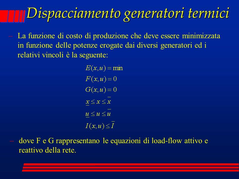 Dispacciamento generatori termici –La funzione di costo di produzione che deve essere minimizzata in funzione delle potenze erogate dai diversi genera