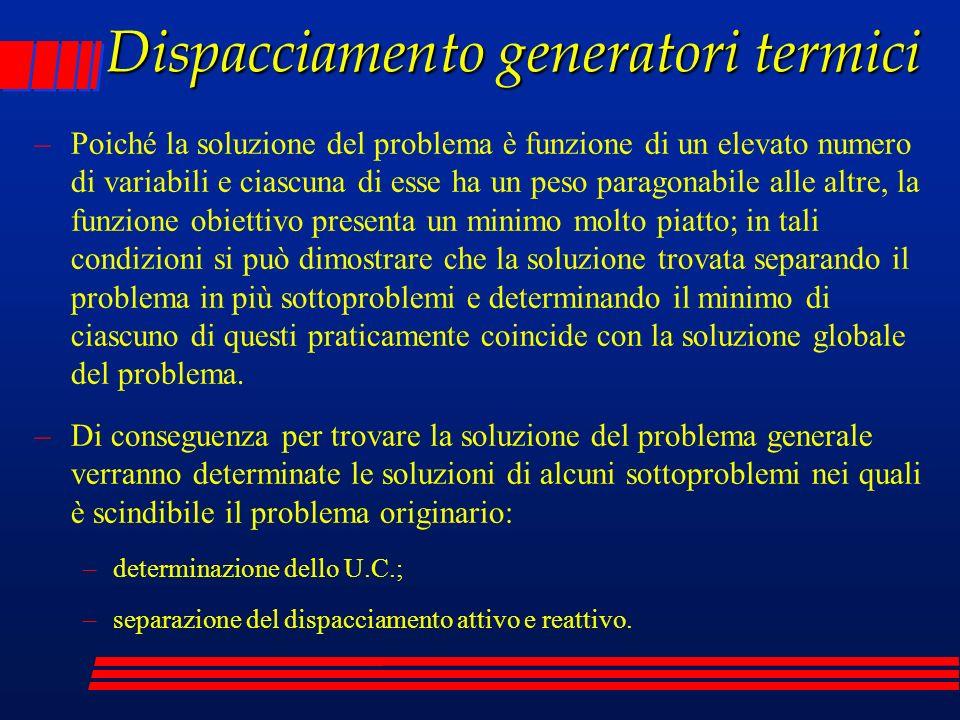 Dispacciamento generatori termici –Poiché la soluzione del problema è funzione di un elevato numero di variabili e ciascuna di esse ha un peso paragon