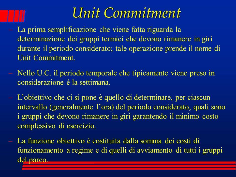 Unit Commitment –La prima semplificazione che viene fatta riguarda la determinazione dei gruppi termici che devono rimanere in giri durante il periodo