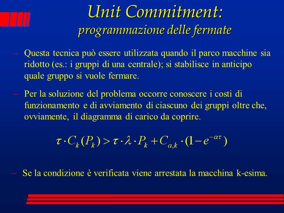 Unit Commitment: programmazione delle fermate –Questa tecnica può essere utilizzata quando il parco macchine sia ridotto (es.: i gruppi di una central