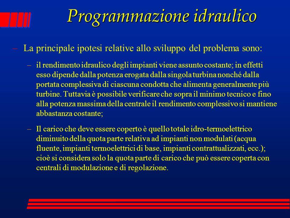 Programmazione idraulico –La principale ipotesi relative allo sviluppo del problema sono: –il rendimento idraulico degli impianti viene assunto costan