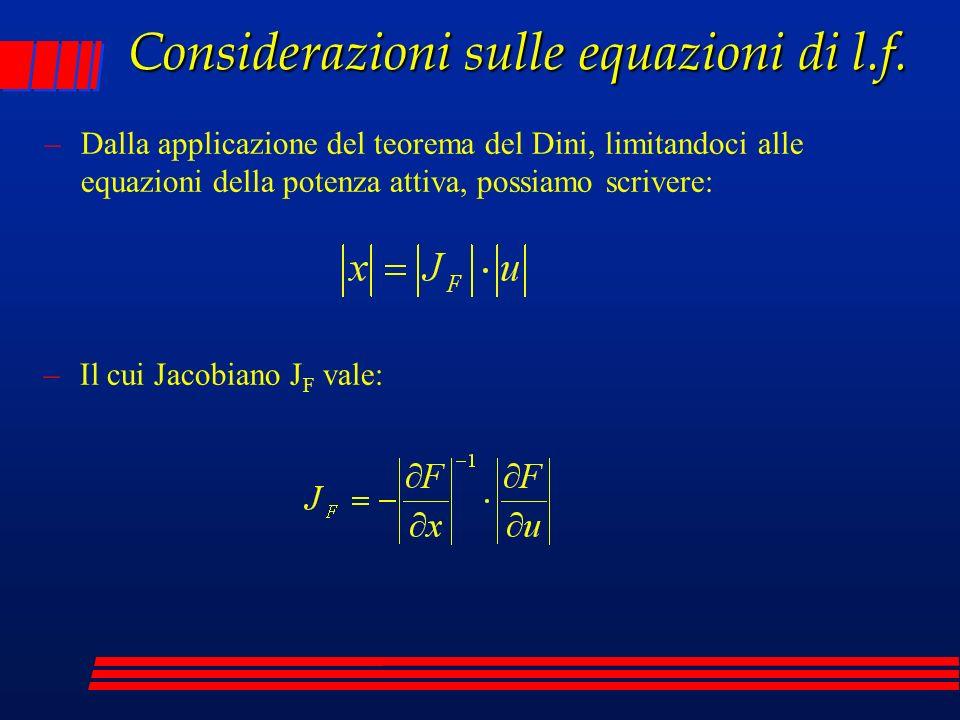 Considerazioni sulle equazioni di l.f. –Dalla applicazione del teorema del Dini, limitandoci alle equazioni della potenza attiva, possiamo scrivere: –