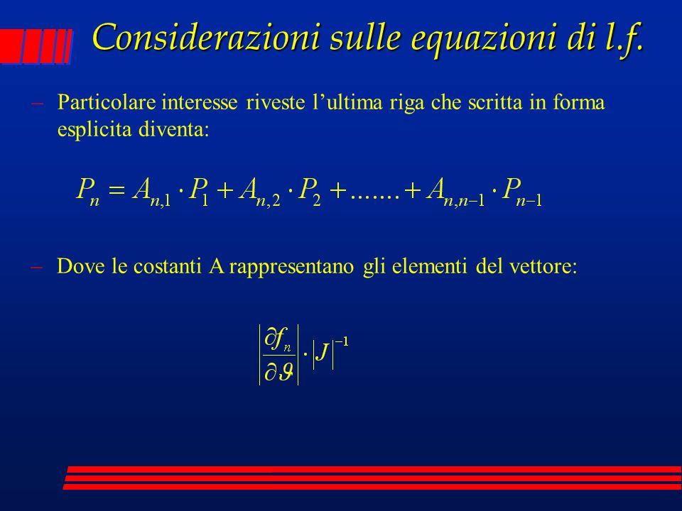 Considerazioni sulle equazioni di l.f. –Particolare interesse riveste lultima riga che scritta in forma esplicita diventa: –Dove le costanti A rappres