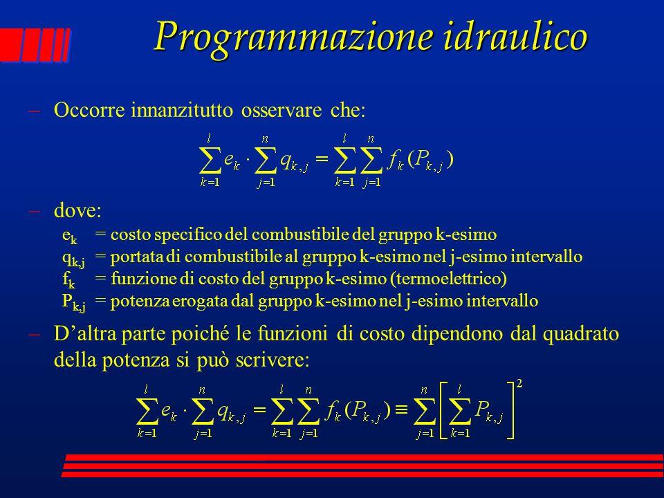 Programmazione idraulico –Occorre innanzitutto osservare che: –dove: e k = costo specifico del combustibile del gruppo k-esimo q k,j = portata di comb