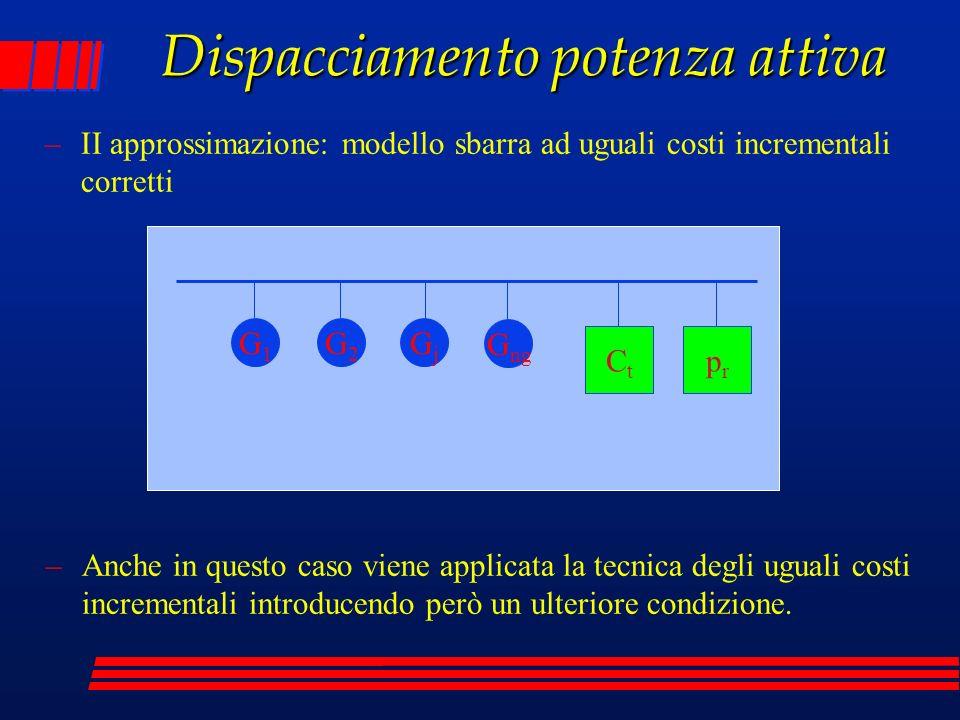 Dispacciamento potenza attiva –Il problema di minimo costo è così definito –dove p rappresenta le perdite nella rete di trasmissione; dalla applicazione delle condizioni di Kuhn-Tucker si ottiene